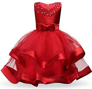 Keaiyouhuo Red Cotton Polyester Solid Girls Princess Dress