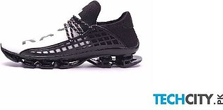 Joomra Black White Breathable Mesh Letter Lace-up Running Sport Shoes