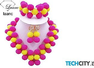 Laanc Hot Pink and Yellow Pearl Zinc Alloy Round Jewelry Set