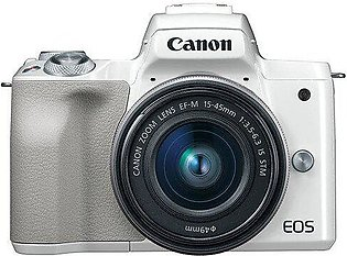 Canon EOS M50 Mirrorless Camera with EF-M 15-45mm IS STM Kit - White