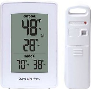 AcuRite White Indoor Outdoor Digital Thermometer and Humidity Gauge