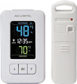 AcuRite Color Digital Thermometer with Outdoor Sensor and Clock