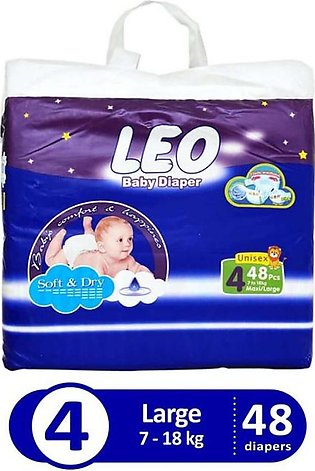 Leo Baby Diaper Size 4 (Large) 48 pcs