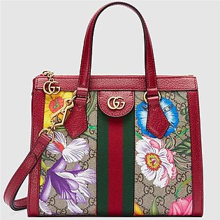 Gucci Ophidia Red/GG Supreme Flora Small Tote Bag