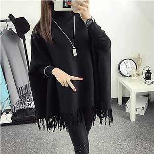 Black Poncho for Women by TSquare