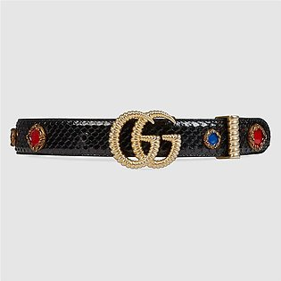 Gucci Python Belt With Torchon Double G Buckle
