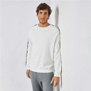 Trendyol Striped Tape Sleeve Sweatshirt Ecru for Men