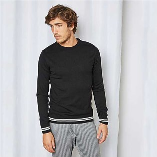 Trendyol Contrast Striped Hem Sweater Black for Men