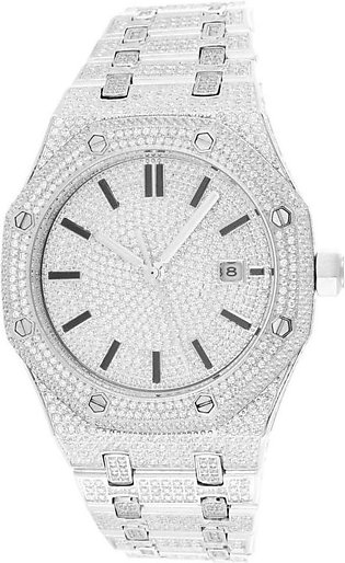 14k White Gold Finish Steel Presidential Luxury Face 41mm Iced Out Men's Watch