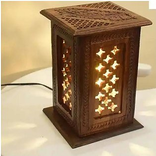 Pair Of Wooden Lamp Square