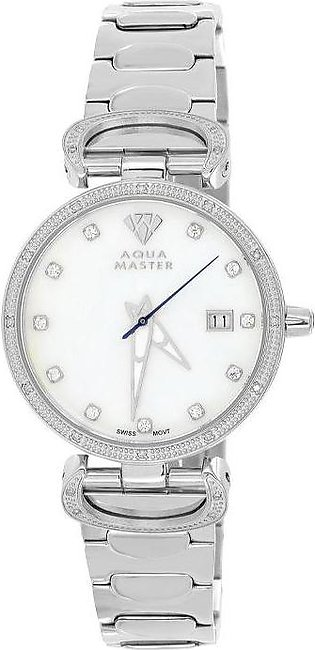 14k White Gold Finish Aqua Master Diamond Mother Of Pearl Watch For Women