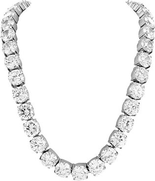 """White Gold Finish 10mm Stainless Steel Tennis Chain 30"""" Lab Diamond 20 CT Look"""