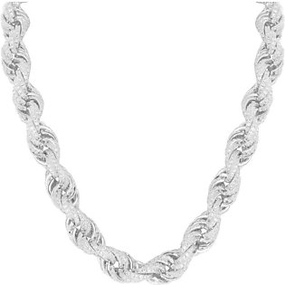 14K White Gold Rope Necklace Sterling 925 Silver Simulated Diamonds 30