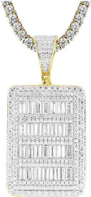 14K Yellow Gold Sterling Silver Baguette Sides Pendant