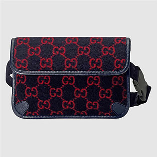 Gucci Blue & Red Wool Belt Bag