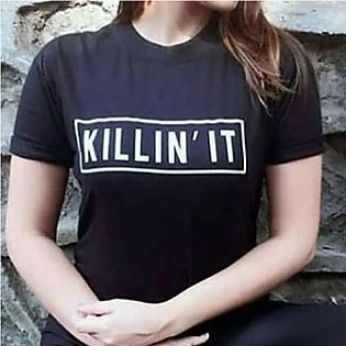 Killin' It Printed Half Sleeves T-Shirt Black By Emerce
