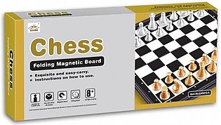 Chess Folding Magnetic Silver And Gold Pieces Board Game