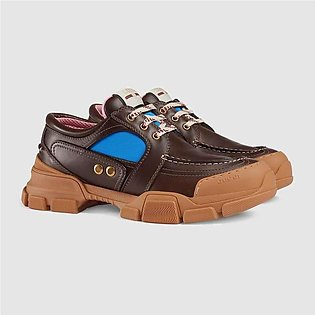Gucci Brown Leather & Nylon Lace-Up Shoe