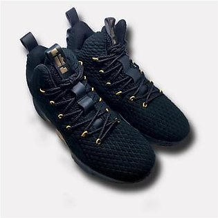 Footscape's Imported Black/Golden Long Sneakers for Men FS0293