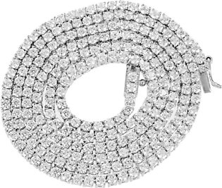 """14K White Gold Finish 3mm Lab Diamond Tennis Link Solitaire Necklace 26"""""""