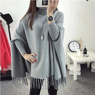 Grey Poncho for Women by TSquare