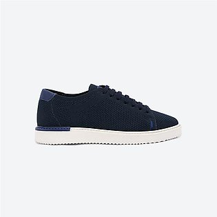 Hush puppies Sabine Lace Up Closure Round Toe Knit Sneakers Navy For Women