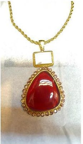 22kt Gold Plated Aqeeq Color With Mother Of Pearls Locket