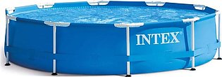 Intex Round Metal Frame Foldable Swimming Pool 10 ft