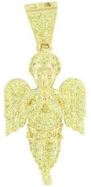 14k Yellow Gold Finish Floating Baby Angel Pendant Lab Diamonds Fully Icy