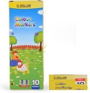 Dollar Colour Marker Red 10 Pieces - Box