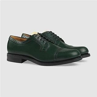 Gucci Brogue Green Leather Lace-Up Shoe