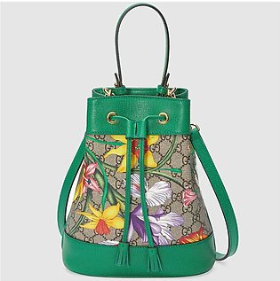 Gucci Ophidia Green/GG Supreme Flora Small Bucket Bag