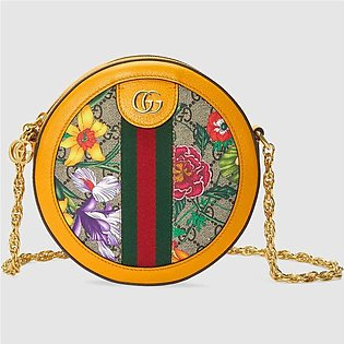 Gucci Ophidia Yellow/GG Supreme Flora Mini Round Shoulder Bag