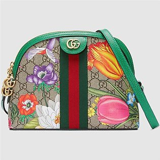 Gucci Ophidia Green/GG Supreme Flora Small Shoulder Bag