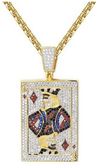 14K Gold Sterling Silver King of Diamonds Playing Cards Pendant