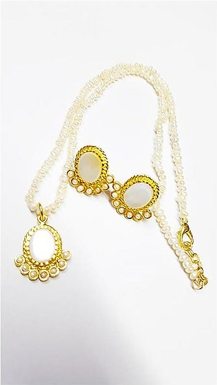 22kt Gold Plated Pearl With White Zircons Locket+Earrings