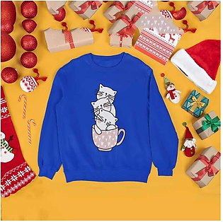 Cats Printed Sweat Shirt for Women by R&H
