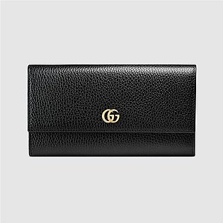 Gucci Marmont Black Leather Continental Wallet