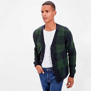 Trendyol Long Sleeves Checkered Cardigan Yesil for Men