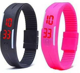 Pack of 2 - LED Bracelet Watch for Boys & Girls - Black & Pink