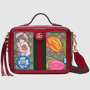 Gucci Ophidia Red/GG Supreme Flora Small Shoulder Bag