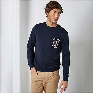 Trendyol Alphabet Graphic Sweatshirt Navy for Men