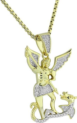 Men's Gold Finish Angel with Dragon Pendant With Stainless Steel Box Chain
