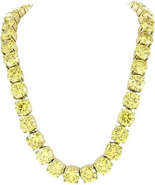 Yellow Gold Finish 10mm Solitaire Lab Diamond Necklace Canary Stainless Steel...