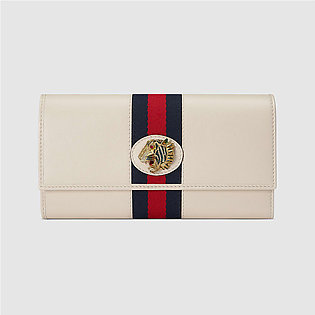 Gucci-Rajah Continental White Leather Wallet