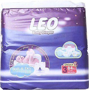 Leo Normal Baby Diapers Size (Medium)- 84 Pcs
