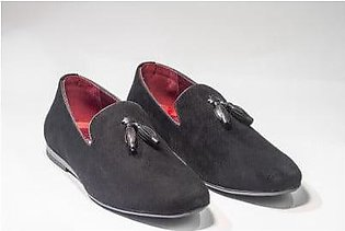 Footscape's Imported Black Faux Suede Loafers for Men FS729-30