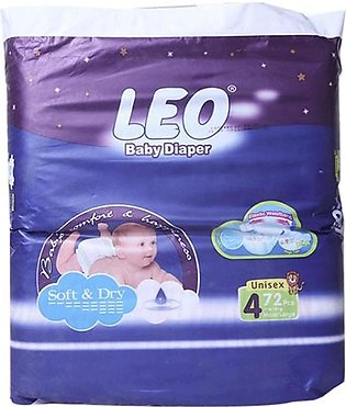 Leo Normal Baby Diapers Size (Large)- 72 Pcs
