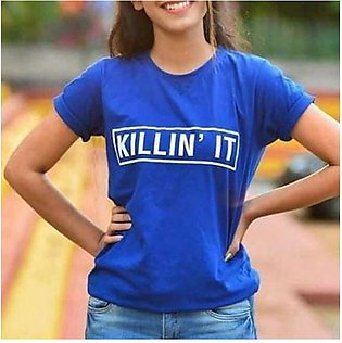 Killin' It Printed Half Sleeves T-Shirt Blue By Emerce