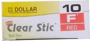 Dollar Ball Pen Clear Stic Red (F 0.8) 10 Pieces - Box
